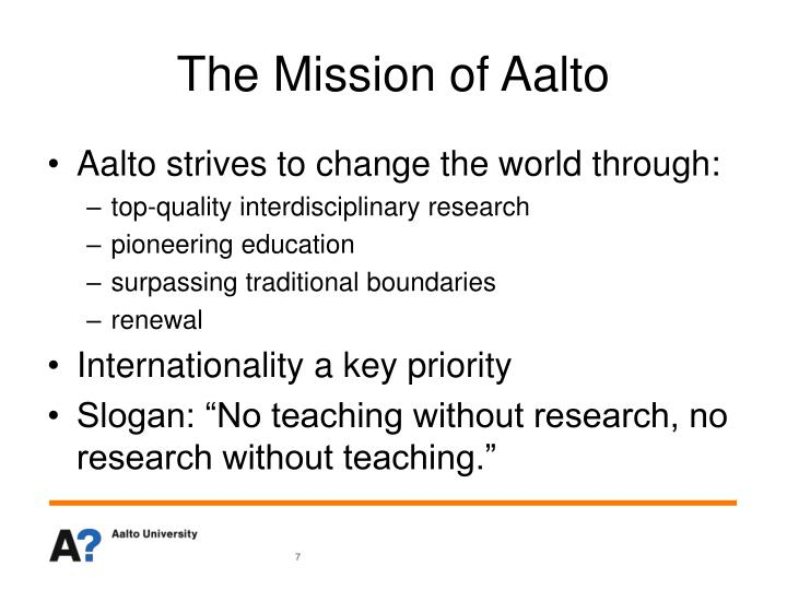 The Mission of Aalto