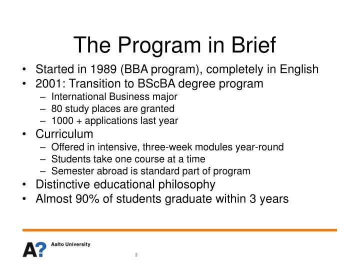 The Program in Brief