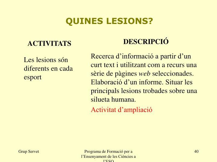 QUINES LESIONS?