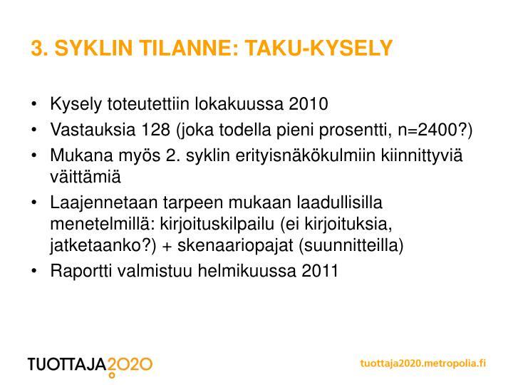 3. SYKLIN TILANNE: