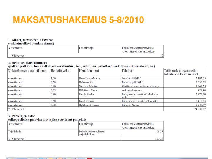 Maksatushakemus 5-8/2010