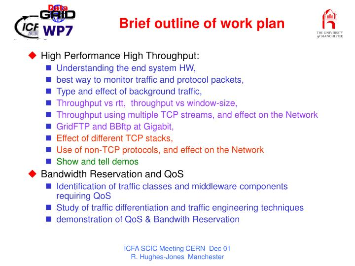 Brief outline of work plan
