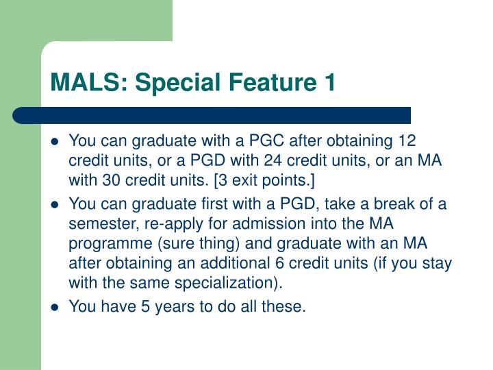 MALS: Special Feature 1