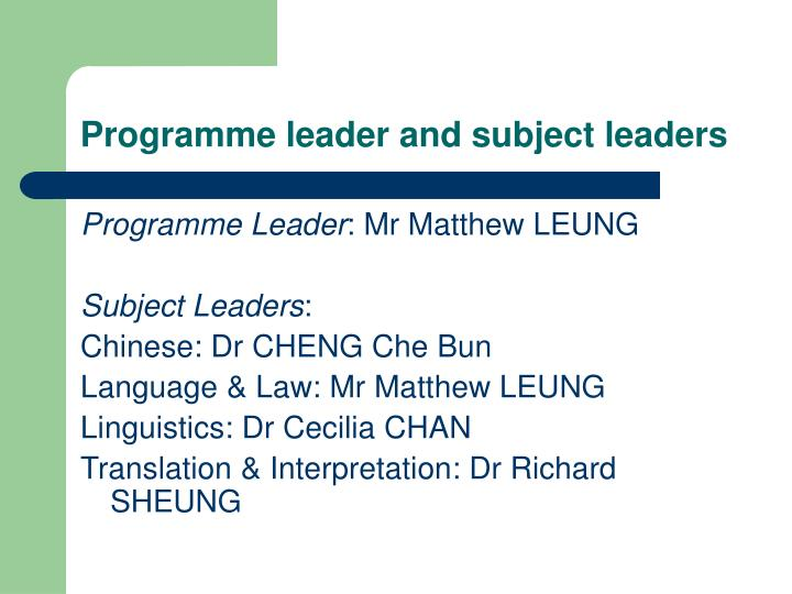 Programme leader and subject leaders