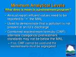 minimum analytical levels what does is mean to a pretreatment program