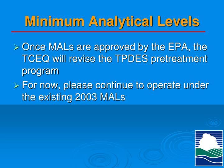 Minimum Analytical Levels