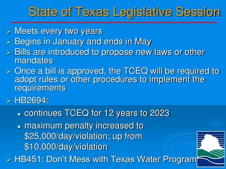 State of Texas Legislative Session