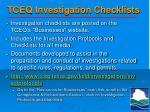 tceq investigation checklists