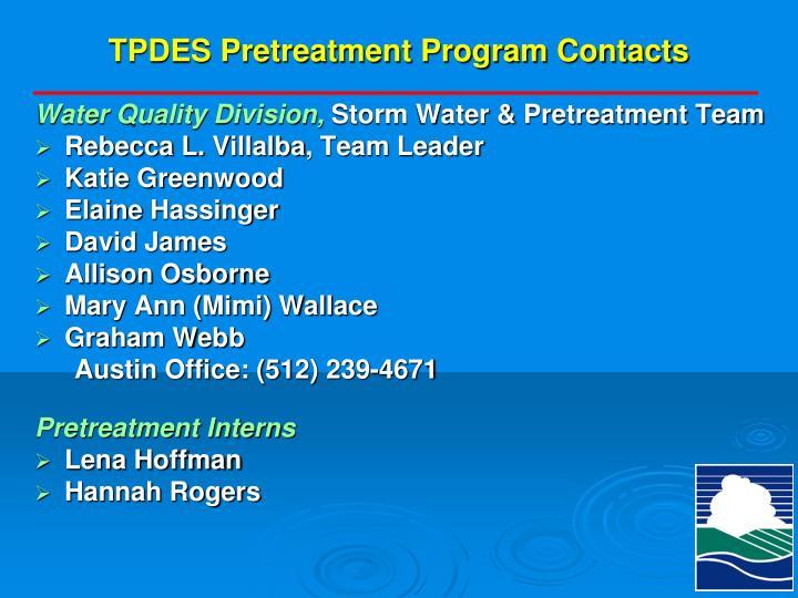 TPDES Pretreatment Program Contacts
