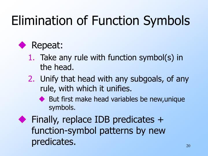 Elimination of Function Symbols