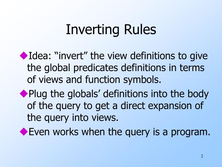 Inverting Rules
