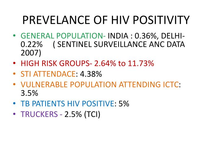 PREVELANCE OF HIV POSITIVITY