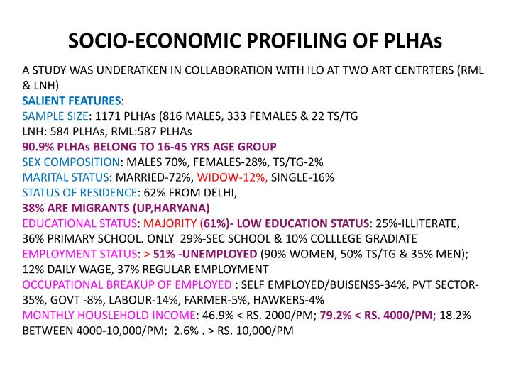 SOCIO-ECONOMIC PROFILING OF PLHAs