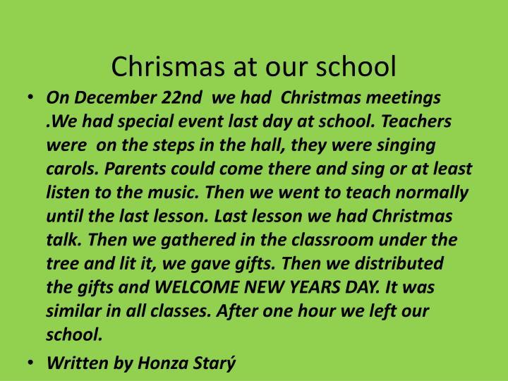 Chrismas at our school