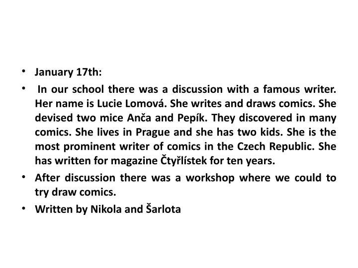 January 17th:
