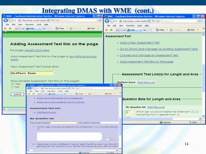 Integrating DMAS with WME  (cont.)