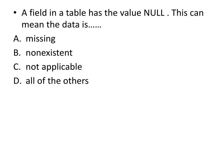 A field in a table has the value NULL . This can mean the data is……