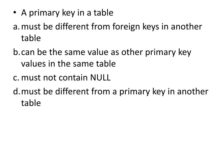 A primary key in a table