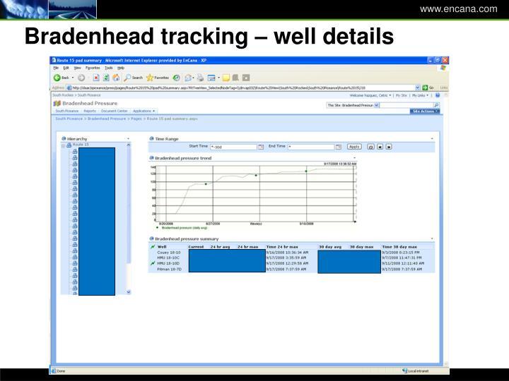 Bradenhead tracking – well details