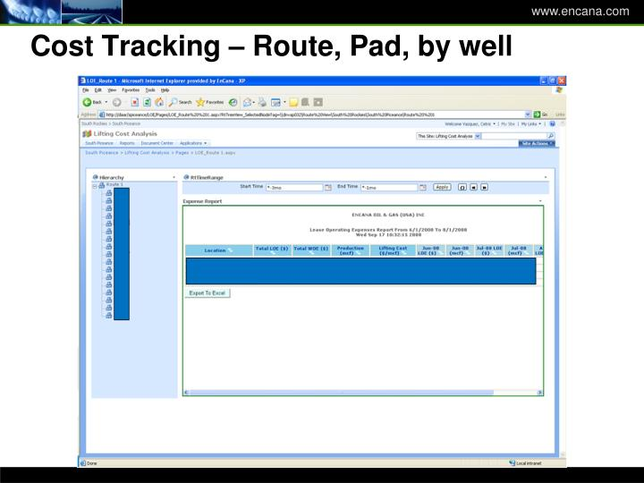 Cost Tracking – Route, Pad, by well