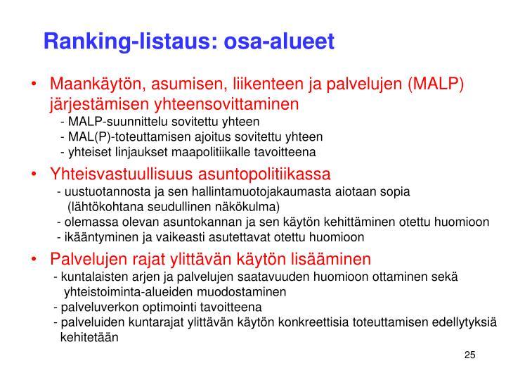 Ranking-listaus: osa-alueet