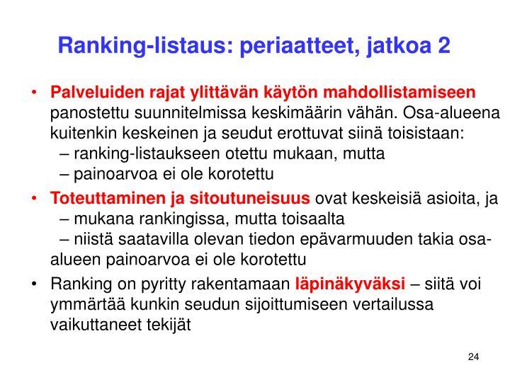 Ranking-listaus: periaatteet, jatkoa 2