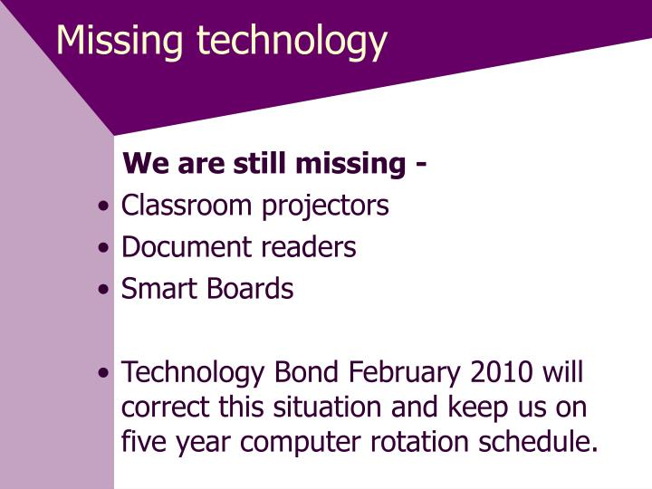Missing technology