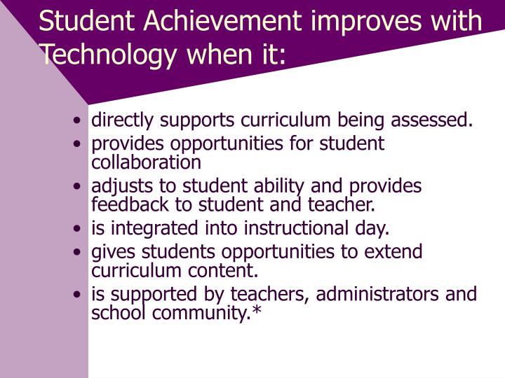 Student Achievement improves with Technology when it: