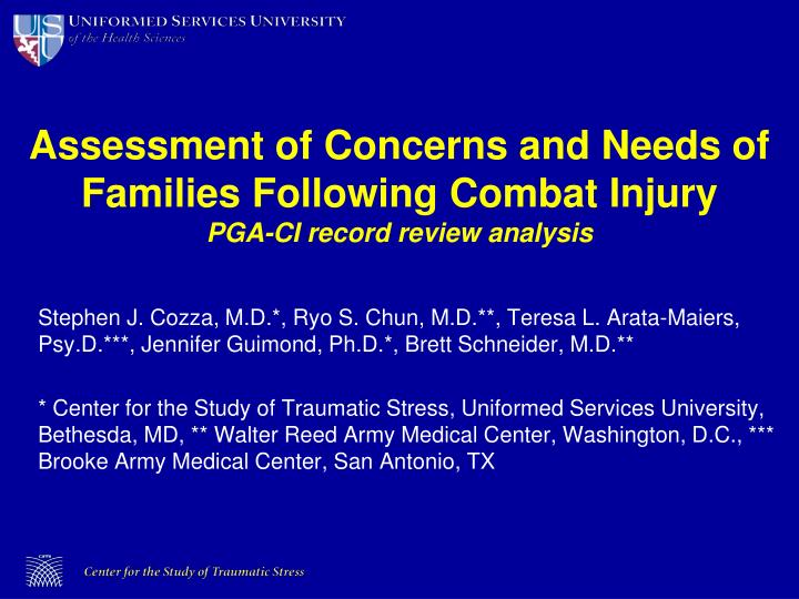Assessment of Concerns and Needs of Families Following Combat Injury