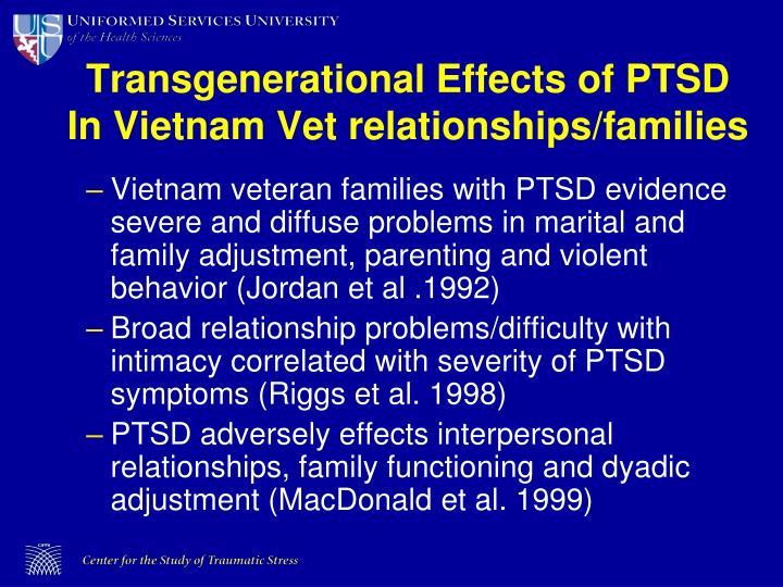 Transgenerational Effects of PTSD In Vietnam Vet relationships/families