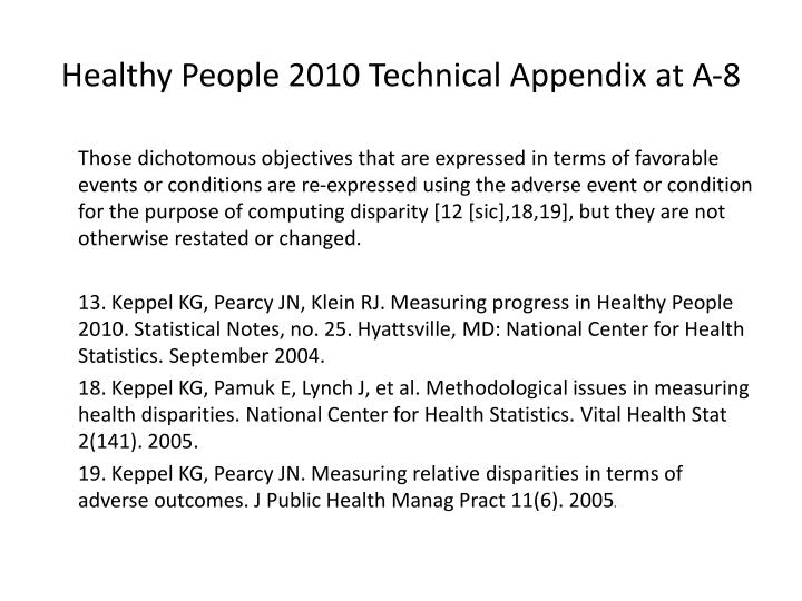Healthy People 2010 Technical Appendix at A-8