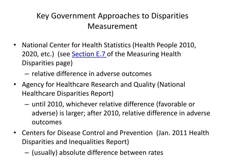 Key Government Approaches to Disparities Measurement