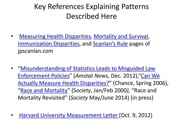 Key References Explaining Patterns