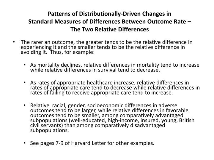 Patterns of Distributionally-Driven Changes in