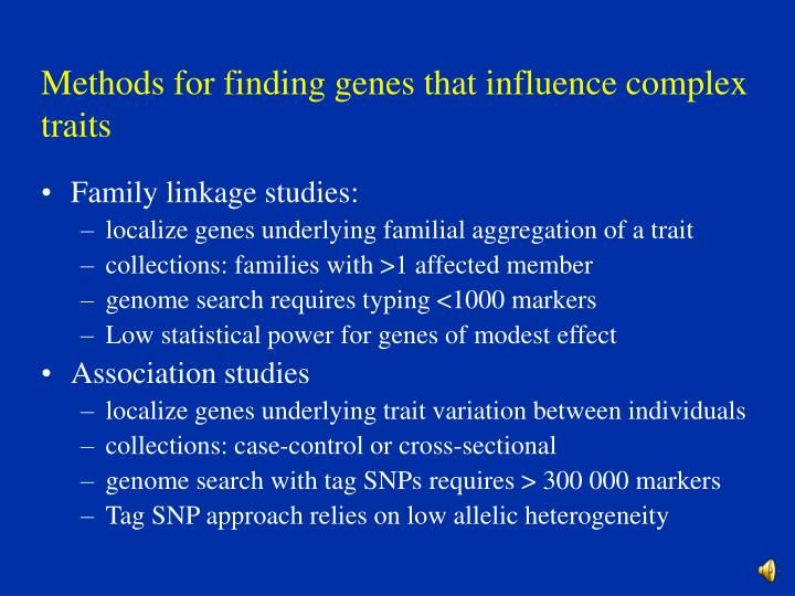 Methods for finding genes that influence complex traits