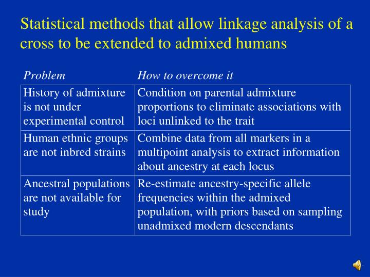 Statistical methods that allow linkage analysis of a  cross to be extended to admixed humans