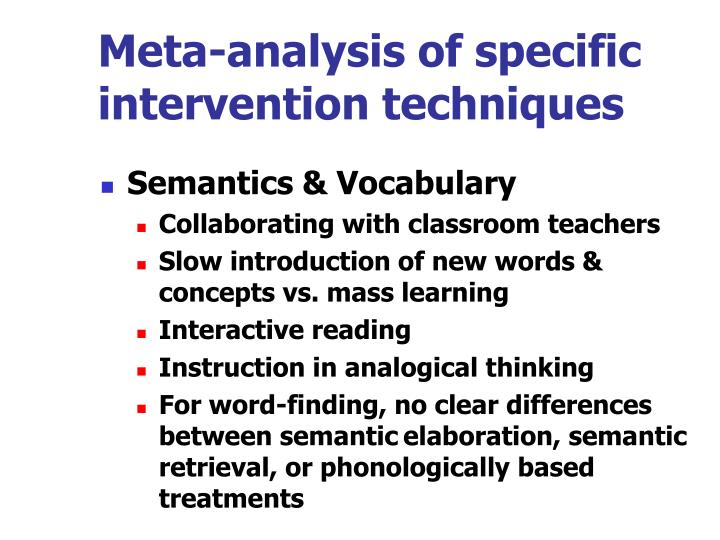 Meta-analysis of specific intervention techniques