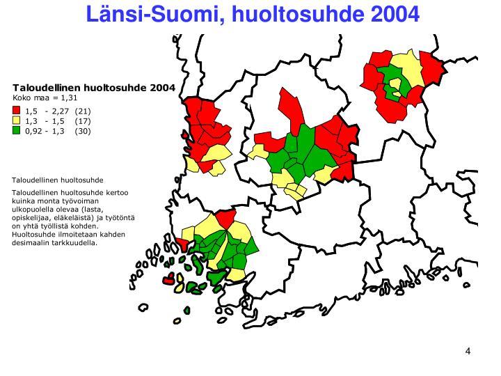 Länsi-Suomi, huoltosuhde 2004