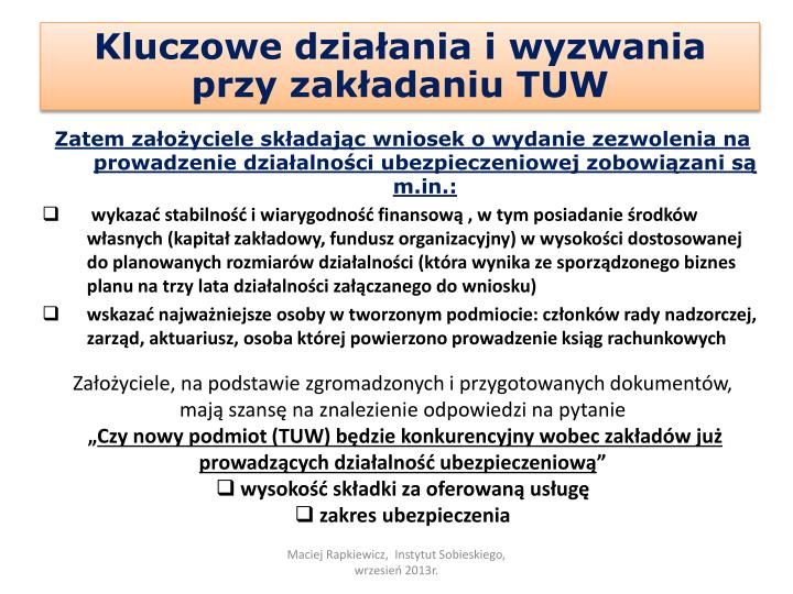 Kluczowe działania i wyzwania przy zakładaniu TUW