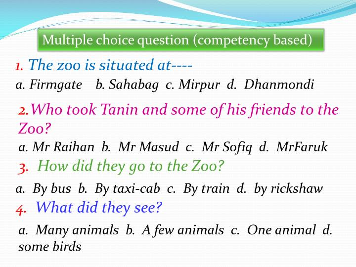 Multiple choice question (competency based)