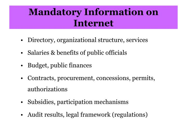 Mandatory Information on Internet