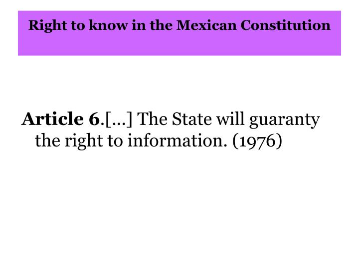 Right to know in the Mexican Constitution