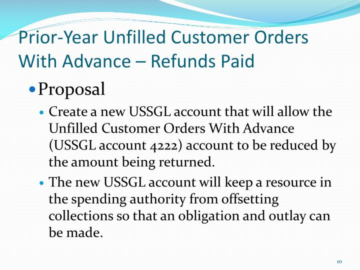 Prior-Year Unfilled Customer Orders With Advance – Refunds Paid