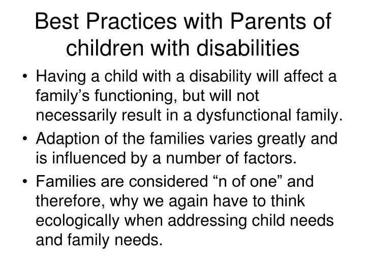 Best Practices with Parents of children with disabilities
