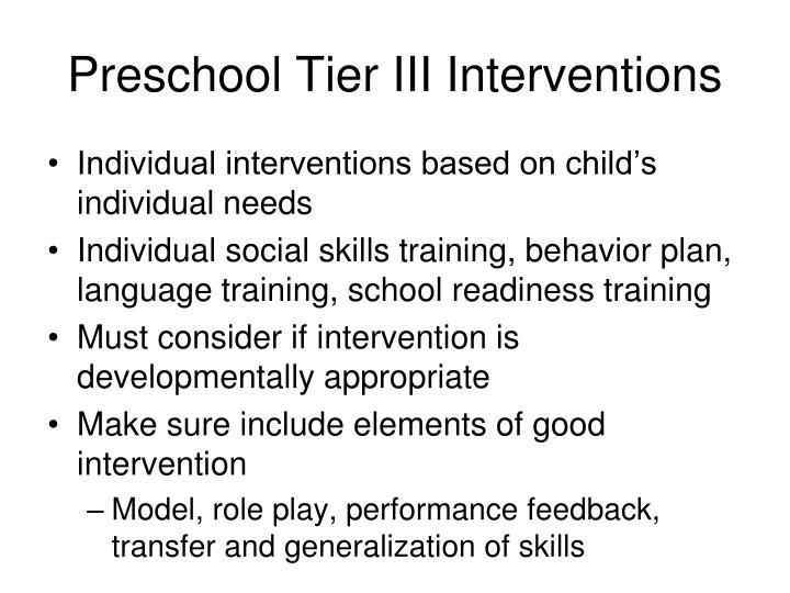 Preschool Tier III Interventions