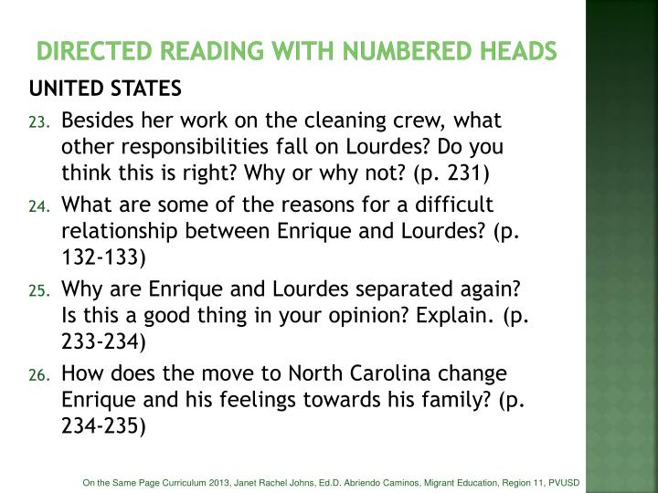 DIRECTED READING WITH NUMBERED HEADS