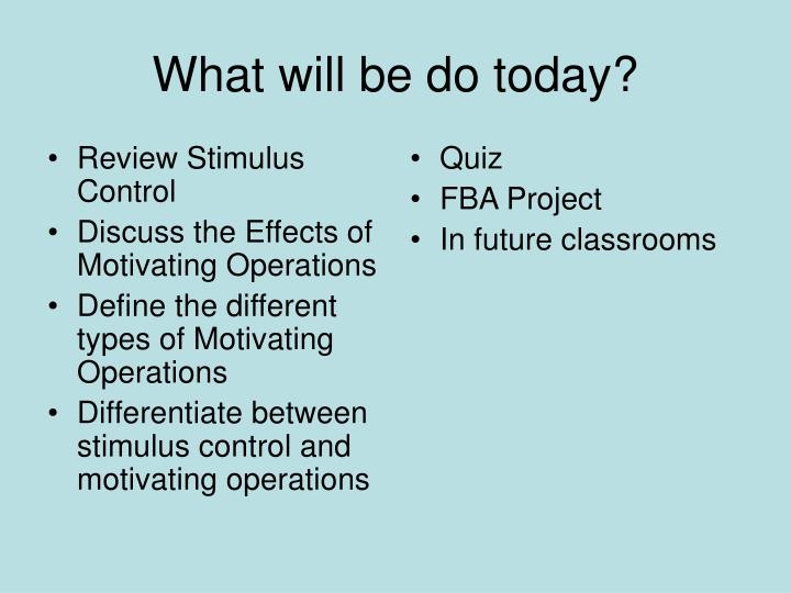 Review Stimulus Control