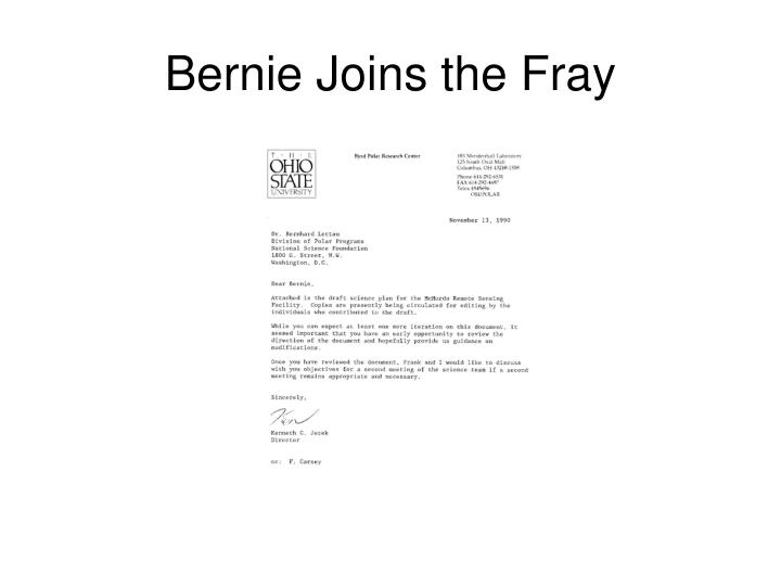 Bernie Joins the Fray