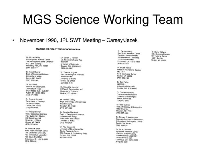 MGS Science Working Team