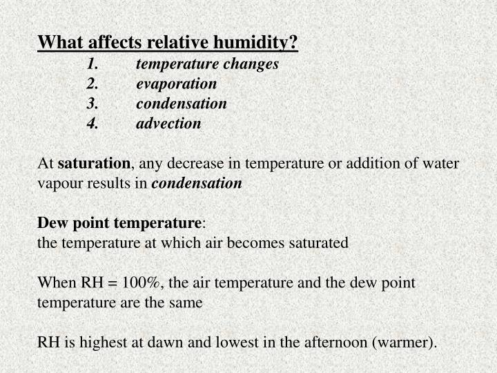 What affects relative humidity?